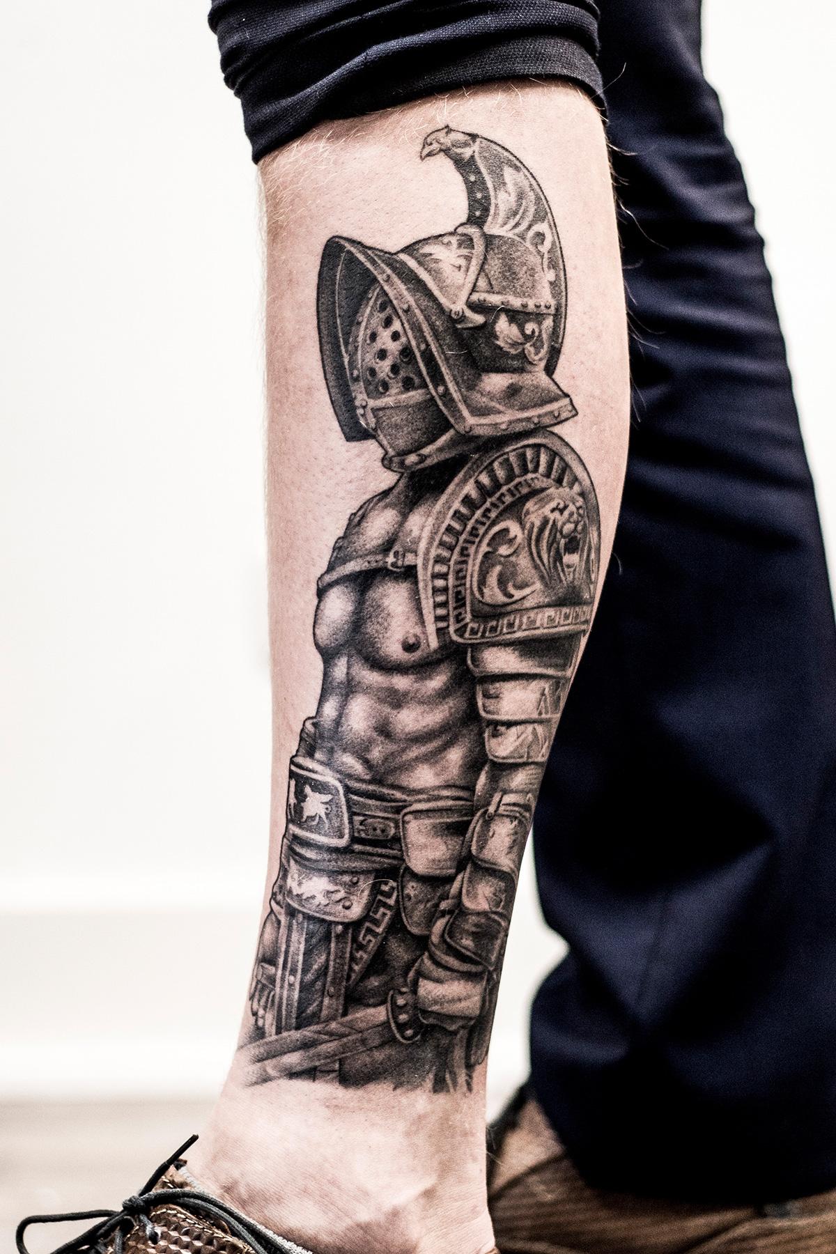 Realistic Roman Gladiator Calf Tattoo Jannes de Groot Tattoo